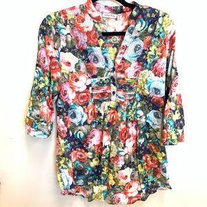 Cotton Daisy rose floral cotton popover tunic SZ S